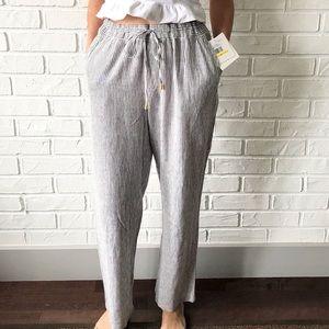 NEW high waist wide leg blue striped linen pants